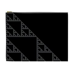 Triangle Black White Chevron Cosmetic Bag (xl) by Mariart