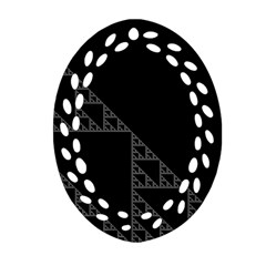 Triangle Black White Chevron Oval Filigree Ornament (two Sides) by Mariart
