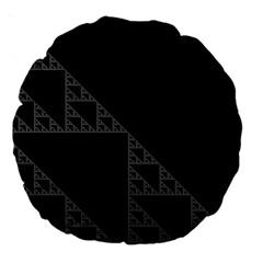 Triangle Black White Chevron Large 18  Premium Round Cushions by Mariart