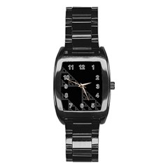 Triangle Black White Chevron Stainless Steel Barrel Watch by Mariart