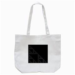 Triangle Black White Chevron Tote Bag (white) by Mariart