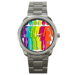 Trans Gender Purple Green Blue Yellow Red Orange Color Rainbow Sign Sport Metal Watch by Mariart
