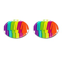 Trans Gender Purple Green Blue Yellow Red Orange Color Rainbow Sign Cufflinks (oval) by Mariart
