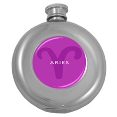 Zodiac Aries Round Hip Flask (5 Oz) by Mariart