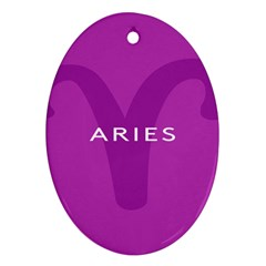 Zodiac Aries Oval Ornament (two Sides) by Mariart