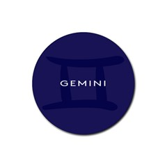 Zodiac Gemini Rubber Coaster (round)  by Mariart