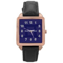 Zodiac Gemini Rose Gold Leather Watch  by Mariart