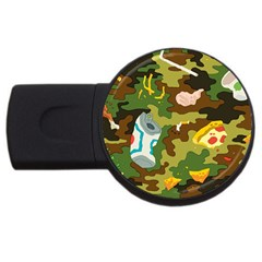 Urban Camo Green Brown Grey Pizza Strom Usb Flash Drive Round (4 Gb) by Mariart