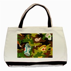 Urban Camo Green Brown Grey Pizza Strom Basic Tote Bag by Mariart
