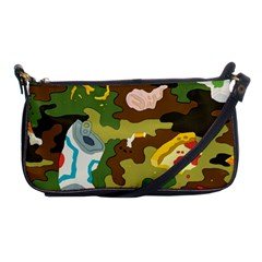 Urban Camo Green Brown Grey Pizza Strom Shoulder Clutch Bags by Mariart