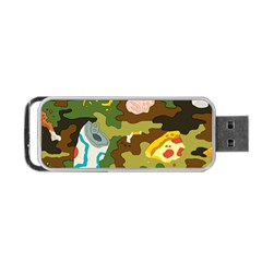 Urban Camo Green Brown Grey Pizza Strom Portable Usb Flash (two Sides) by Mariart