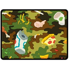Urban Camo Green Brown Grey Pizza Strom Double Sided Fleece Blanket (large)  by Mariart
