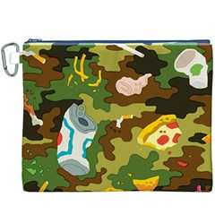 Urban Camo Green Brown Grey Pizza Strom Canvas Cosmetic Bag (xxxl) by Mariart