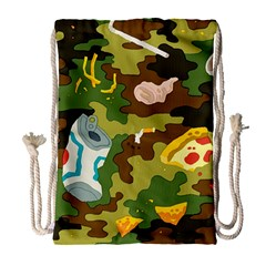 Urban Camo Green Brown Grey Pizza Strom Drawstring Bag (large) by Mariart