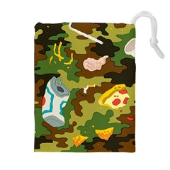 Urban Camo Green Brown Grey Pizza Strom Drawstring Pouches (extra Large) by Mariart