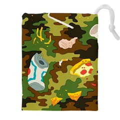 Urban Camo Green Brown Grey Pizza Strom Drawstring Pouches (xxl) by Mariart