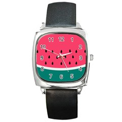 Watermelon Red Green White Black Fruit Square Metal Watch by Mariart