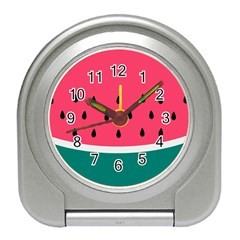 Watermelon Red Green White Black Fruit Travel Alarm Clocks by Mariart