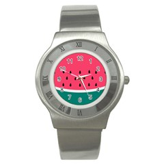 Watermelon Red Green White Black Fruit Stainless Steel Watch by Mariart