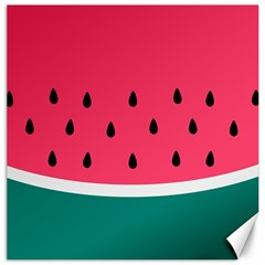 Watermelon Red Green White Black Fruit Canvas 20  X 20   by Mariart