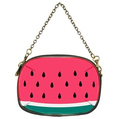 Watermelon Red Green White Black Fruit Chain Purses (two Sides)  by Mariart