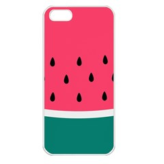 Watermelon Red Green White Black Fruit Apple Iphone 5 Seamless Case (white) by Mariart