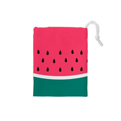 Watermelon Red Green White Black Fruit Drawstring Pouches (small)  by Mariart