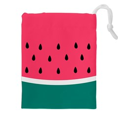 Watermelon Red Green White Black Fruit Drawstring Pouches (xxl) by Mariart