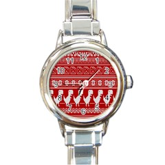 Red Dinosaur Star Wave Chevron Waves Line Fabric Animals Round Italian Charm Watch by Mariart