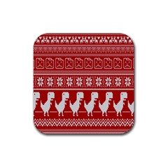 Red Dinosaur Star Wave Chevron Waves Line Fabric Animals Rubber Square Coaster (4 Pack)  by Mariart