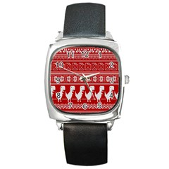 Red Dinosaur Star Wave Chevron Waves Line Fabric Animals Square Metal Watch by Mariart