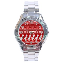 Red Dinosaur Star Wave Chevron Waves Line Fabric Animals Stainless Steel Analogue Watch by Mariart