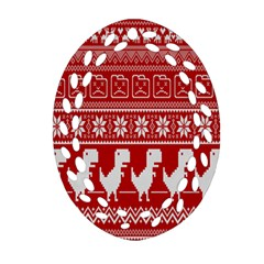 Red Dinosaur Star Wave Chevron Waves Line Fabric Animals Ornament (oval Filigree) by Mariart