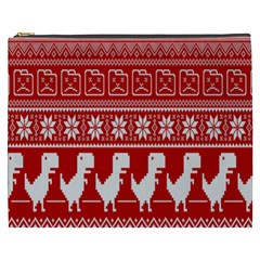 Red Dinosaur Star Wave Chevron Waves Line Fabric Animals Cosmetic Bag (xxxl)  by Mariart