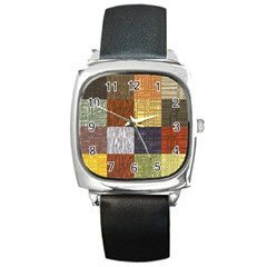 Blocky Filters Yellow Brown Purple Red Grey Color Rainbow Square Metal Watch by Mariart