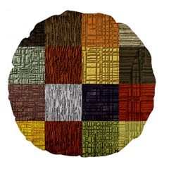 Blocky Filters Yellow Brown Purple Red Grey Color Rainbow Large 18  Premium Flano Round Cushions by Mariart
