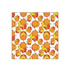 Colorful Stylized Floral Pattern Satin Bandana Scarf by dflcprintsclothing