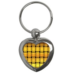 Rough Gold Weaving Pattern Key Chains (heart)  by Simbadda