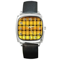 Rough Gold Weaving Pattern Square Metal Watch by Simbadda