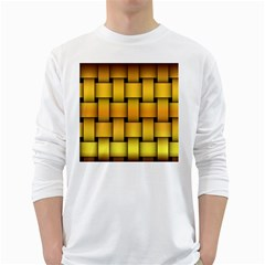 Rough Gold Weaving Pattern White Long Sleeve T Shirts by Simbadda