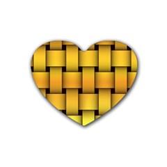 Rough Gold Weaving Pattern Heart Coaster (4 Pack)  by Simbadda