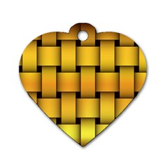 Rough Gold Weaving Pattern Dog Tag Heart (one Side) by Simbadda