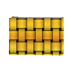 Rough Gold Weaving Pattern Cosmetic Bag (large)  by Simbadda