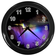 Niagara Falls Dancing Lights Colorful Lights Brighten Up The Night At Niagara Falls Wall Clocks (black) by Simbadda