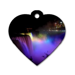 Niagara Falls Dancing Lights Colorful Lights Brighten Up The Night At Niagara Falls Dog Tag Heart (one Side) by Simbadda