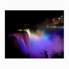 Niagara Falls Dancing Lights Colorful Lights Brighten Up The Night At Niagara Falls Small Glasses Cloth (2 Side) by Simbadda