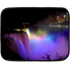 Niagara Falls Dancing Lights Colorful Lights Brighten Up The Night At Niagara Falls Fleece Blanket (mini) by Simbadda