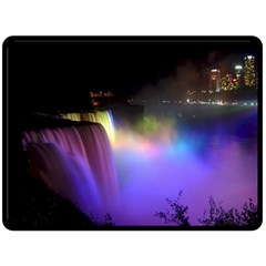 Niagara Falls Dancing Lights Colorful Lights Brighten Up The Night At Niagara Falls Fleece Blanket (large)  by Simbadda