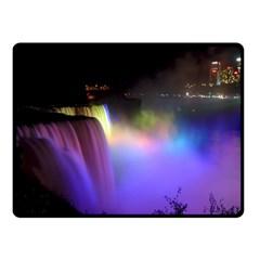 Niagara Falls Dancing Lights Colorful Lights Brighten Up The Night At Niagara Falls Fleece Blanket (small) by Simbadda