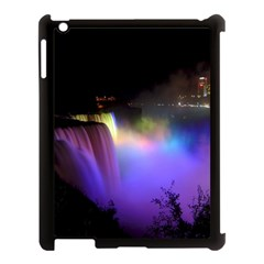 Niagara Falls Dancing Lights Colorful Lights Brighten Up The Night At Niagara Falls Apple Ipad 3/4 Case (black) by Simbadda